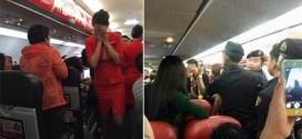 Quang cảnh hỗn loạn trên máy bay sau khi xảy ra vụ cãi vã liên quan đến các hành khách Trung Quốc. Ảnh: Weibo