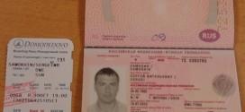 Giấy tờ của hành khách gây rối Sergei Samokhin.