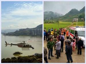 Chiếc trực thăng trước vụ tai nạn và hiện trường vụ việc.