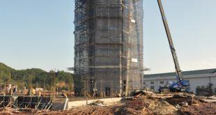 Tháp không lưu đang được gấp rút thi công.